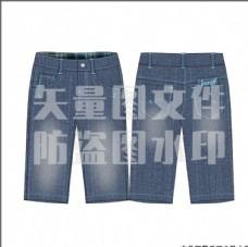 六分中裤牛仔裤