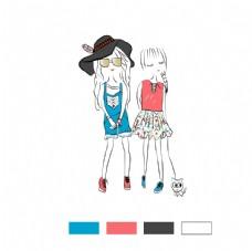 时尚女孩 服装花型