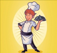 手绘黄色背景厨师