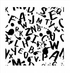 墨迹喷溅手写字体四方连续底纹