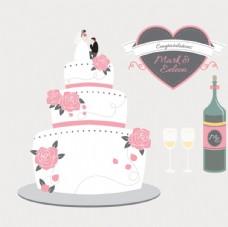 婚礼蛋糕和香槟酒