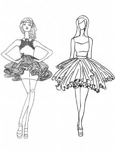 黑白手绘模特人物插画