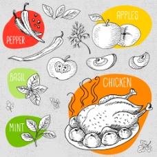 手绘水果和美食插画
