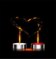 金属圆形蜡烛和爱心矢量素材