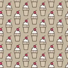 白色加樱桃冰激凌手绘纹理图案矢量