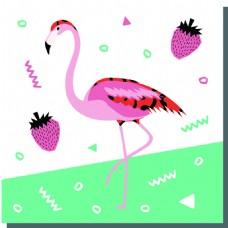 涂鸦火烈鸟夏天卡通创意矢量背景