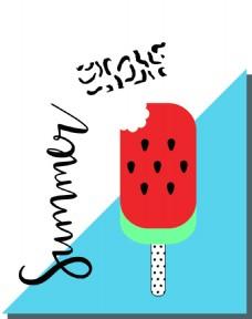 西瓜棒冰夏天卡通创意矢量背景