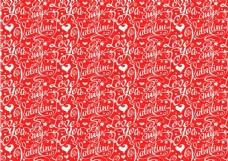 粉色情人节艺术字和爱心无缝背景矢量图
