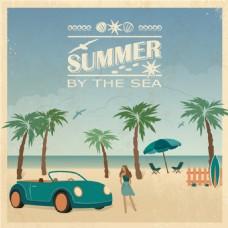 复古插画海边夏日度假沙滩椰树矢量素材