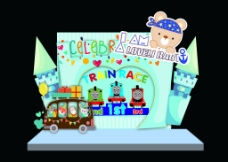 卡通儿童生日宴宝宝宴托马斯主题宝宝宴设计