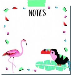 粉色火烈鸟鹦鹉夏天卡通创意矢量背景