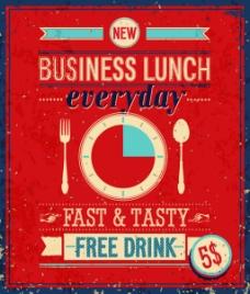 红色餐厅餐饮复古海报矢量素材
