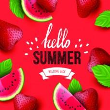 红色背景夏日水果矢量海报