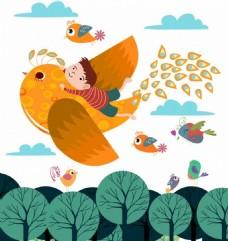 梦想飞翔的小鸟图标背景彩色卡通设计