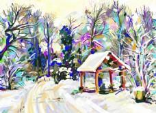 冬天里的雪景插画