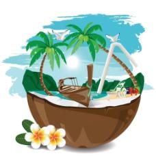 创意夏日插画风海滩建筑矢量素材
