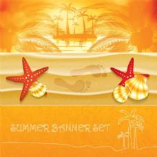 橘色夏日度假沙滩椰树矢量素材