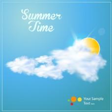 蓝天和白云夏日度假沙滩椰树矢量素材
