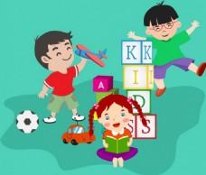 儿童玩具儿童节矢量背景