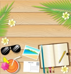 桌子上夏日度假沙滩椰树矢量素材