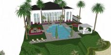现代别墅泳池效果图