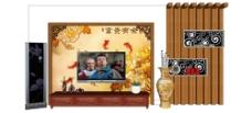 豪华中式电视背景墙 skp模型