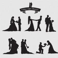 婚礼的夫妇剪影集