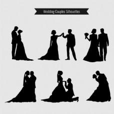 婚礼的夫妇剪影收集