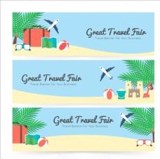 扁平可爱夏季沙滩旅游模板