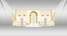 欧式罗马柱壁灯婚礼迎宾区展示效果图