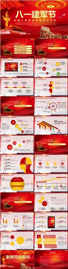 红色高档党建海报封面中国红旗八一建军节PPT模板
