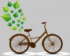 绿叶装饰自行车插画免抠png透明图层素材