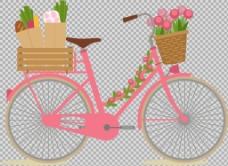 装满鲜花蔬菜的自行车免抠png透明素材