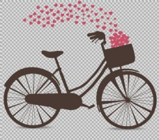爱情主题自行车剪影免抠png透明图层素材
