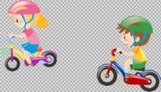 儿童自行车插画免抠png透明图层素材