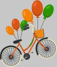 气球装饰自行车插画免抠png透明图层素材