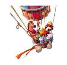 降落伞上的小动物png元素