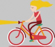 卡通女人骑自行车插画免抠png透明素材