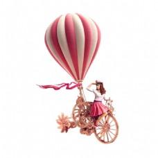 粉色卡通女孩骑单车元素