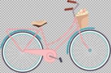 带篮子的自行车插画免抠png透明图层素材