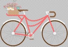 手绘花篮自行车插画免抠png透明图层素材