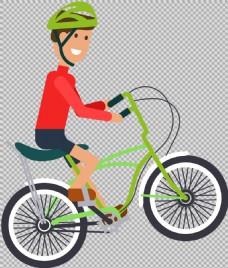 红衣车手骑自行车插画免抠png透明素材