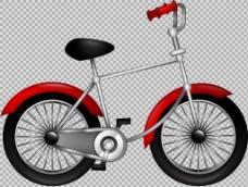 红色手绘自行车插画免抠png透明图层素材