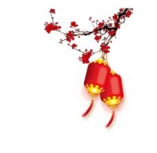 梅花灯笼装饰png元素