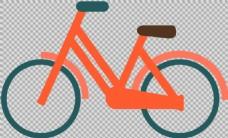 红色简约自行车插画免抠png透明图层素材