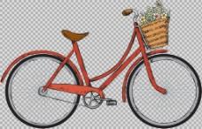 红颜色自行车插画免抠png透明图层素材