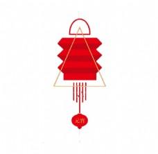 个性大红色灯笼png透明元素