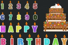 生日派对字体设计矢量背景