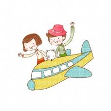 卡通小孩坐飞机元素