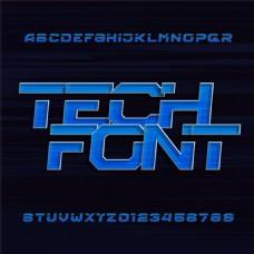 36个蓝色科技大写字母和数字矢量素材